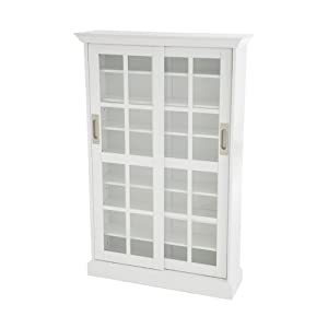 SEI Sliding Door Glass Front Media Cabinet White Kitchen Dining
