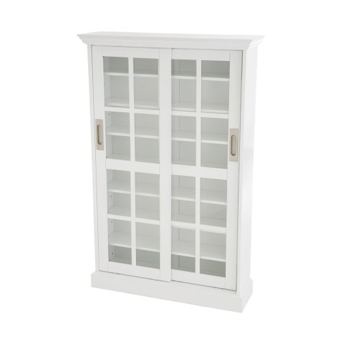 SEI Sliding Door Glass-Front Media Cabinet, White
