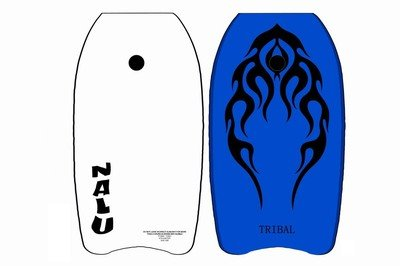 Blue 104cm Sl;ick Board Bodyboad with Wrist/Ankle Strap by Surf Attack, Blue with Black Motif Board