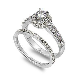 Sterling Silver Wedding Ring Set Ring with Prong Round Clear CZ Stones - Size 9