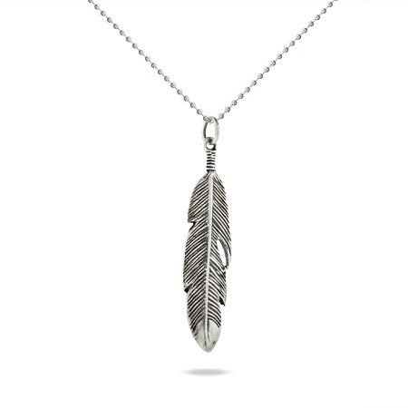 Sterling Silver Feather Pendant Length 24 inches (Lengths 16 18 inches 20 inches 24 inches Available)