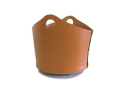 CADIN: borsa in cuoio portalegna e/o pellet, in cuoio rigenerato colore Marrone chiaro, con ruote gommate.