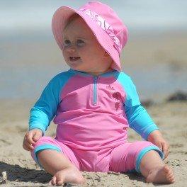 Lion in the Sun UV Baby Girls Long Swimmer Turquoise/Rose