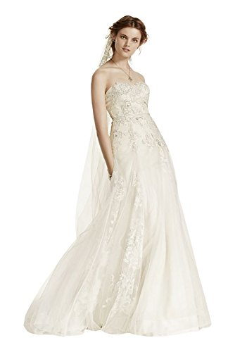 A-Line Tulle Wedding Dress with 3D Floral Lace Style MS251115, Ivory, 0
