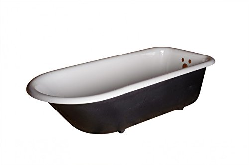 Primed Black Cast Iron Clawfoot Tub FEET NOT INCLUDED Interior Porcelain Glaze 60gal Capacity Ready To Paint Accepts Wall Mount Or Freestanding Faucet (NOT INCLUDED) (Tub 60 Gallon compare prices)