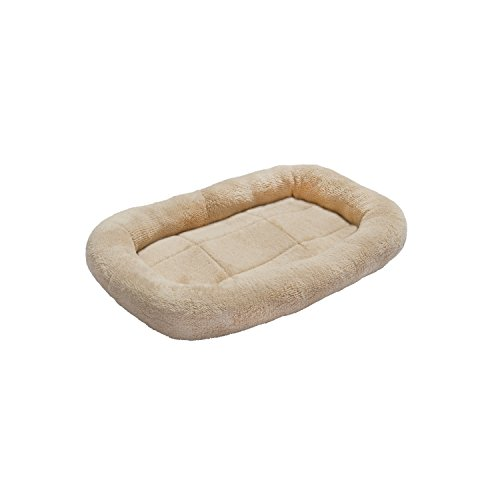 ALEKO® PB24S 24 x 19 Inch Padded Bolster Pet Bed Plush Cushion Mat for Dogs and Cats, Beige Color