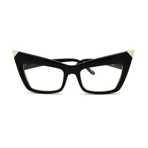 Runway Womens Metal Tip Rectangular Cat Eye Clear Lens Eye Glasses