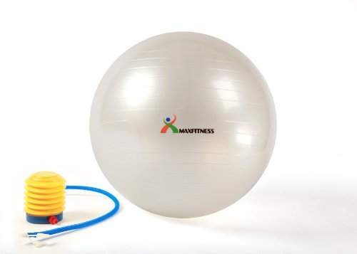 Max Fitness 65cm Exercise Ball with Foot Pump (Pearl White) Picture
