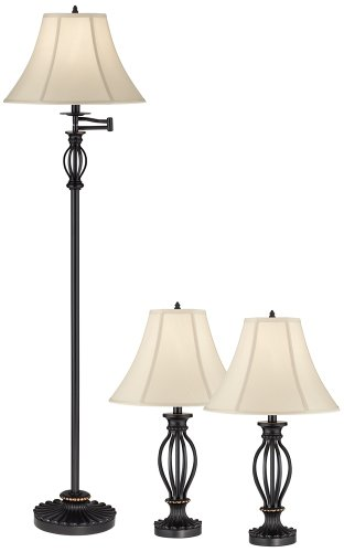 Aley Set Of 3 Black Iron Cage Floor And Table Lamps Paula M Villaler