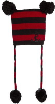 Red & Black Pom Pom Kids Hat with Anchor Embroidery from Sourpuss Clothing