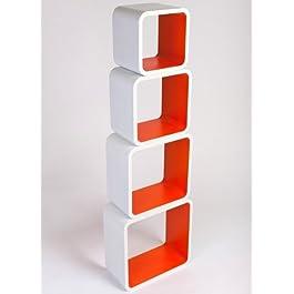 Estanterias Flotantes Diseño Moderno Cubos Para Pared con Forma de Cubo CD Retro Librero Blanco y Naranja LO02BO