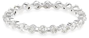 14k White Gold Shared-Prong Diamond Eternity Ring (7/8 cttw, H-I Color, I1-I2 Clarity), Size 5