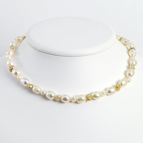 Sterling Silver Peach & Champagne Cultured Pearl Necklace