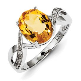 Genuine IceCarats Designer Jewelry Gift Sterling Silver Rhodium Citrine & Diamond Ring Size 8.00