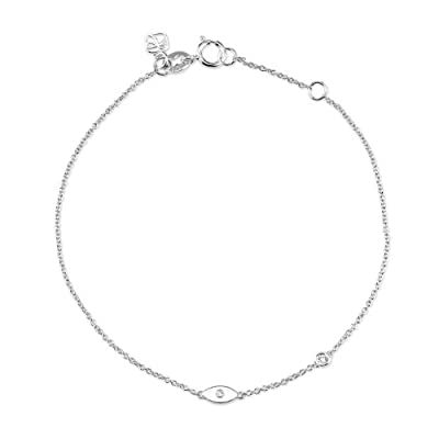 "Shy By Sydney Evan Sterling Silver White Rhodium Plated ""Evil Eye"" Bracelet with Diamond Bezel of 17.145cm"