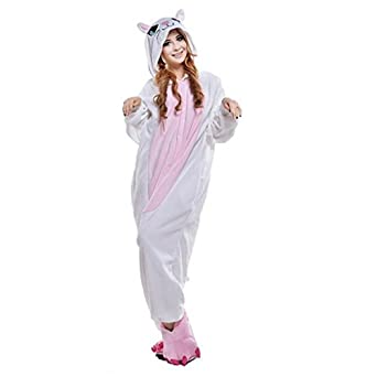 White Cat Christmas Carnival Costumes Anime Onesie Adults Kigurumi Pajamas Cosplay