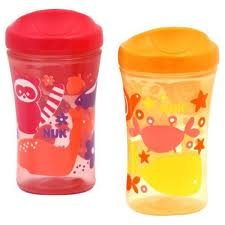 NUK Gerber Graduates Learning System Animal 2 Pack Spout Learning Cup, Pink/Orange, 10-Ounce