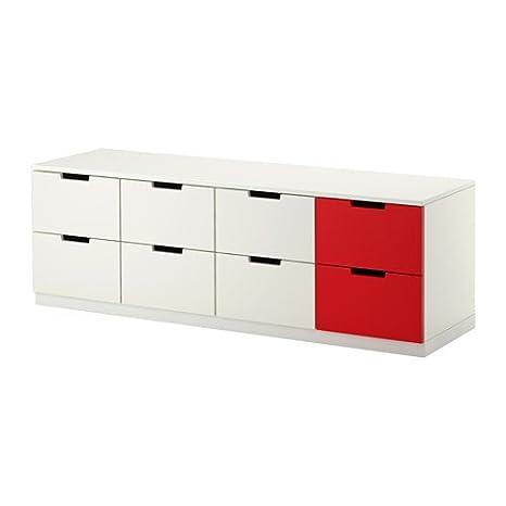 IKEA Nordli - pecho de 8 cajones, blanco, rojo - 160x52 cm