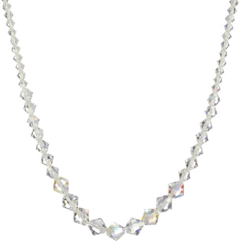 Sterling Silver Swarovski Elements Crystal and Crystal Aurora Borealis Bicone Bead Necklace, 16