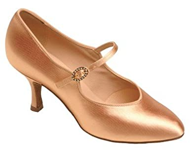 "1012 Ladies' Court Shoe with a 2.0"" Contour Heel in Flesh Satin"