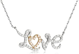 "10k White Gold with Pink Gold Plated Diamond Love Necklace (1/4 cttw, I-J Color, I2-I3 Clarity), 18"" by Amazon Curated Collection"