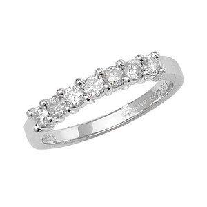 Unique Wishlist 9ct White Gold 50pt Diamond 7 Stone Half Eternity Ring *RD146W