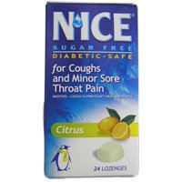 Nice Sugar Free Lozenges for Coughs and Minor Sore Throat Pain, Citrus - 24 Lozenges