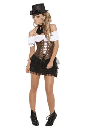 4688 Underbust corset with lace up front detail, boning and velcro back closure.(BROWN,38)