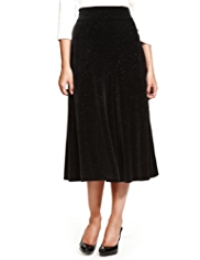 M&S Collection Sparkle Velour Flared Hem Long Skirt