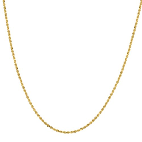 Duragold 14k Yellow Gold Solid Diamond-Cut Rope Chain Necklace (2.25mm), 22""