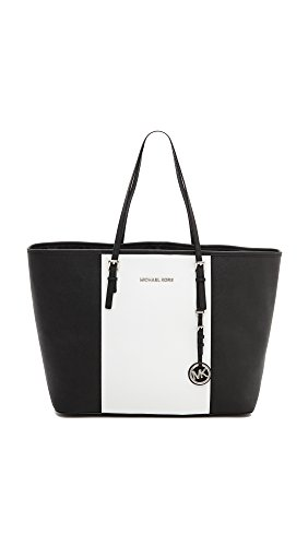 Michael Michael Kors Womens Jet Set Travel Tote, Optic White/Black, One Size