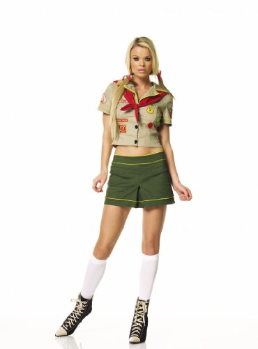 Sexy Scout Troop Costume Scout Uniform Green Dress Camper Girl Theatre Costumes