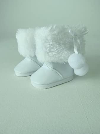 """18"""" White Boots With Removable Faux Fur by My Dolls Fashion World TOY (English Manual)"""