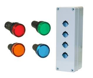 120Vac, 22Mm Red, Yellow, Green And Blue Led Indicator Lamps With Housing