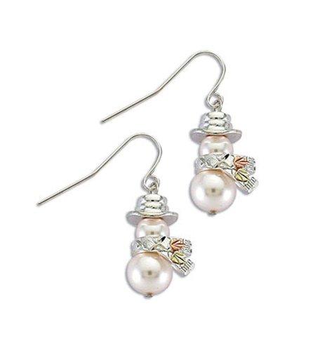 Silver Pearl Snowman Earrings