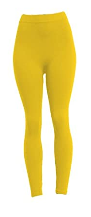 Fashionista Polyester Spandex Footless Legging in 14 Colors Leggings Color: Yellow