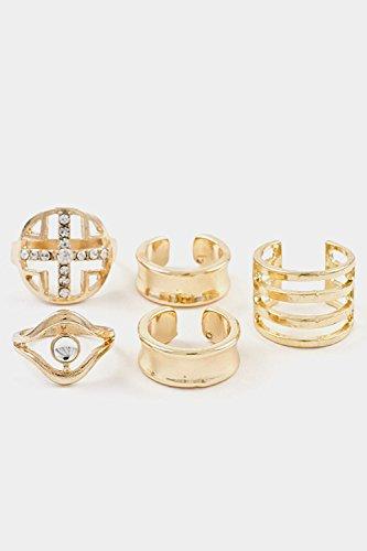 Glitz Finery Cross Accent And Cuff Line 5Pcs Set Ring (Gold)