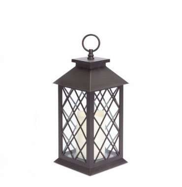 14″ Dark Brown Diamond-Cut Battery Operated Outdoor LED Candle Lantern w/ Timer