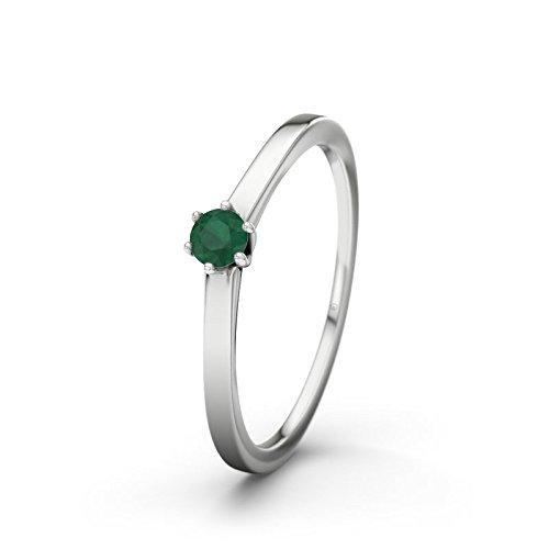 21DIAMONDS Nogoya Women's Ring Emerald Cut Engagement Ring-14ct White Gold Engagement Ring
