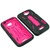 Eagle Armor Video Stand Protector Hard Shield Snap On Case for AT&T HTC One X - Magenta Pink