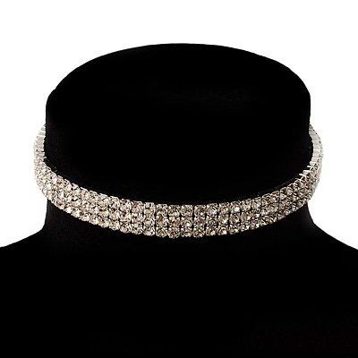3-Row Swarovski Crystal Choker Necklace (Silver&Clear)