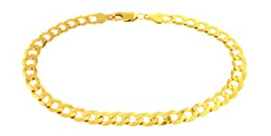 Unisex 9ct Yellow Gold 9 Inch Dc Curb Bracelet