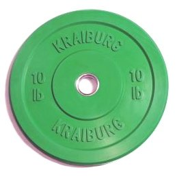 Kraiburg Premium 10 lb Green Rubber Bumper Weight Plates for Crossfit Powerlifting, One Pair (Eleiko Bumper Plates compare prices)