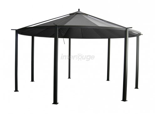 pavillon gazebo 4 5 2 85m gartenzelt partyzelt luxuspavillon dunkel grau gartenlaube. Black Bedroom Furniture Sets. Home Design Ideas