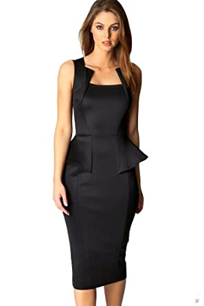 made2envy Bodycon Midi Peplum Dress with Square Neckline (S, Black)