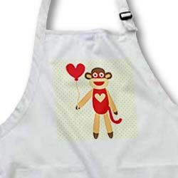 PS Fun Art - Sock Monkey With Heart Balloon - Adorable Animal Art - Aprons