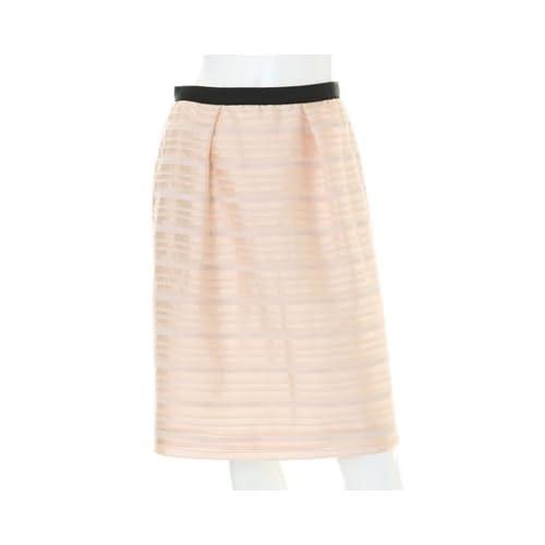 (イネド)INED ジャガードボーダースカート グレイッシュピンク 09