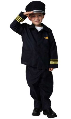 Airline Pilot DressUp Halloween Career Play Costume S 6/8