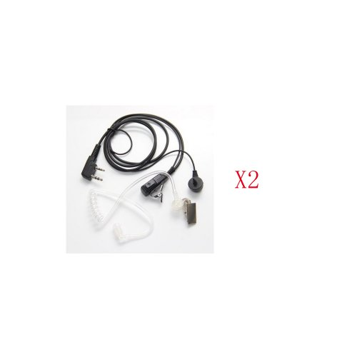 2-Pin Covert Acoustic Tube Earpiece Headset For Kenwood Puxing Wouxun Baofeng Two Way Radio 2Pin (2 Packs)