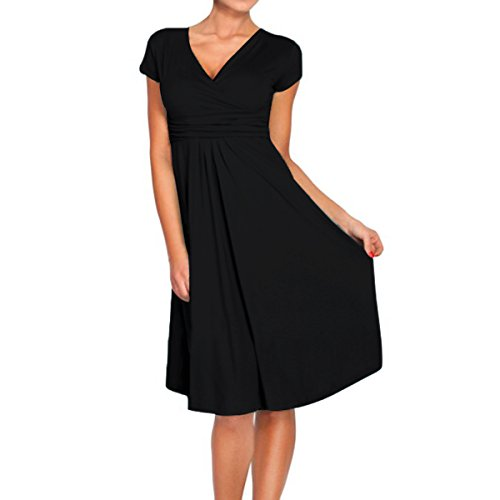 Sue&Joe Women's Fit and Flare Dress V-neck Ruched Flowy Pleated Cap Sleeve Dress, Black, TagsizeXXL=USsize12-1